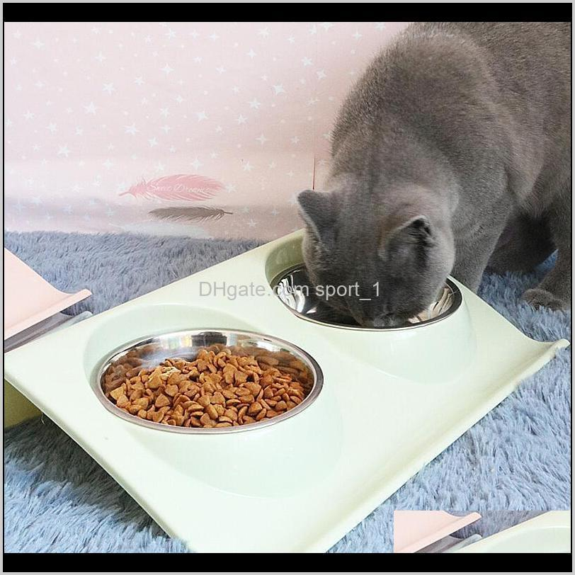 pet dog cat stainless steel double bowl feeding pet dual use water bowl class kitten double pot cat feed