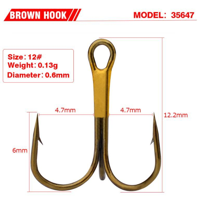 High Quanlity 7size Gold Stainless Steel Fishing Hook Treble Hooks With Barb Freshwater/saltwat