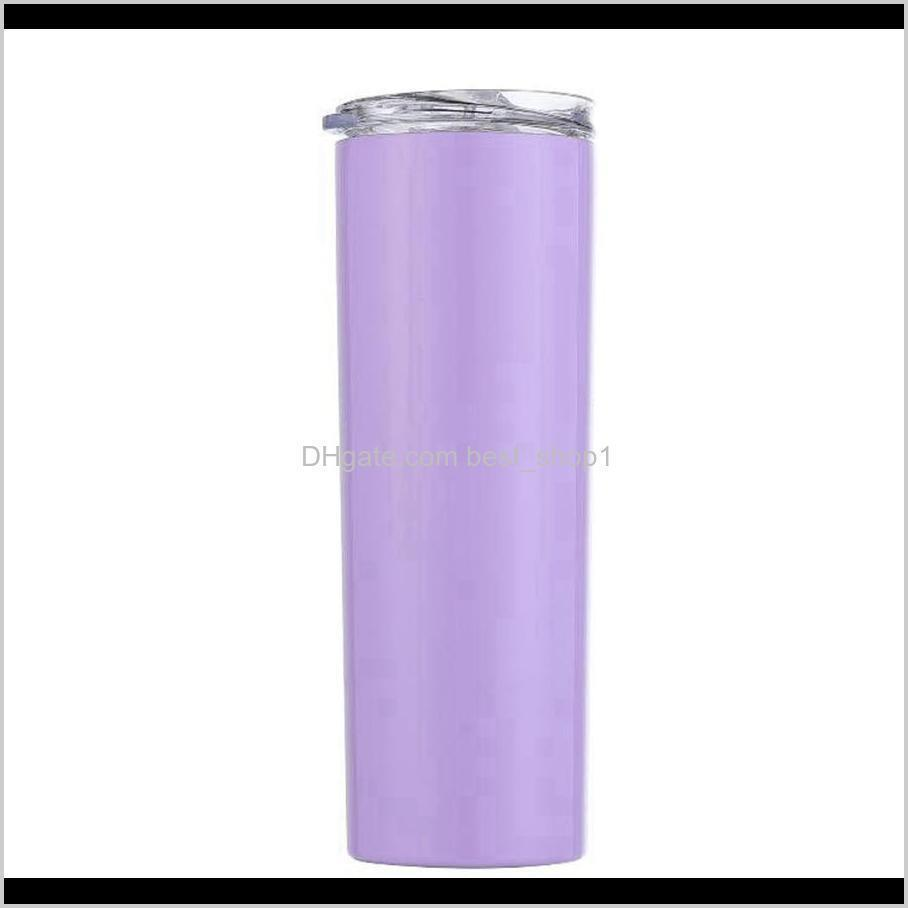 20oz stainless steel skinny tumbler with lid straw mugs straight cups double wall vacuum insulated cup water bottle sea shipping