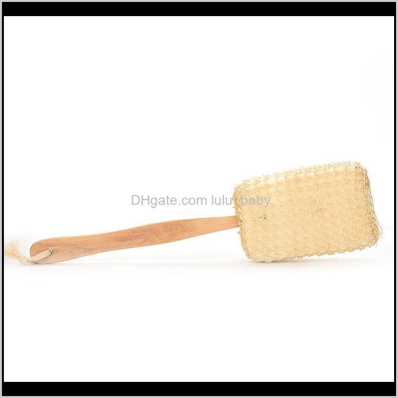 2018 new natural long handle sisal loofah bath brush shower spa back brush massage brush hot sale