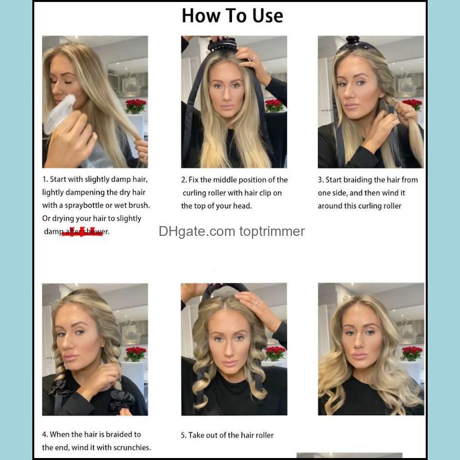 Heatless Curling Rod Headband No Heat Curls Ribbon Hair Rollers Sleeping Soft Headband Hair Curlers DIY Hair Styling Tools 5 pcs J029
