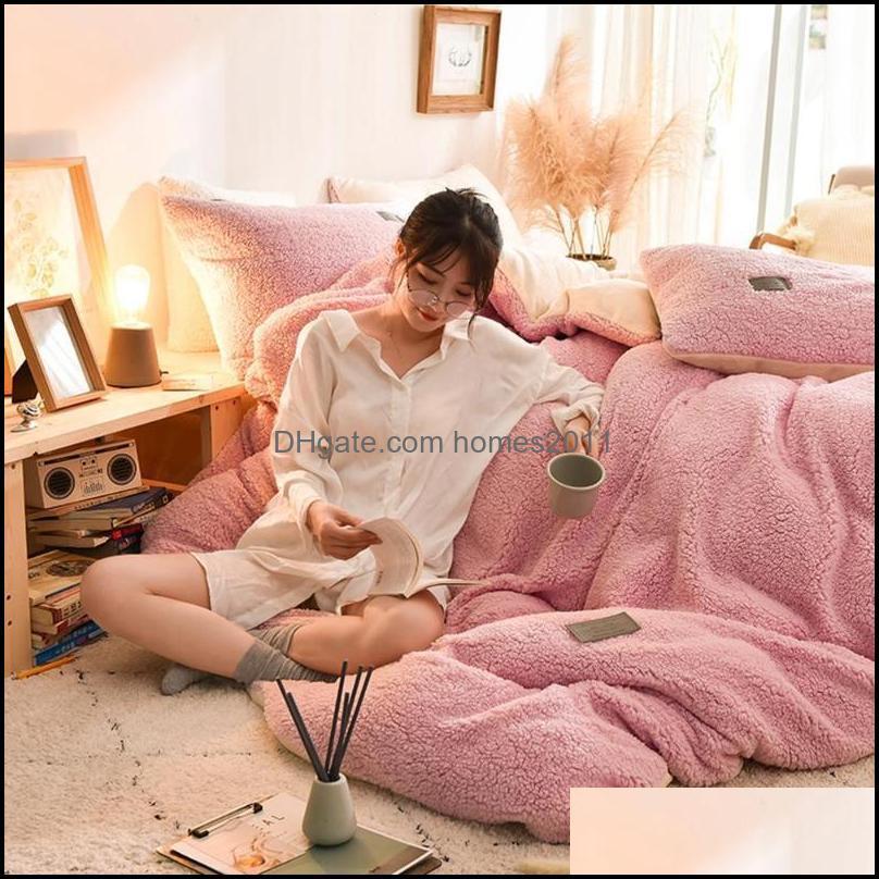 Home Textiles Bedding Sets 4pcs Soft Warm Lamb Cashmere Quilt Cover Set Pillowcase Winter Flat Sheet Solid Fleece Cover Sets1
