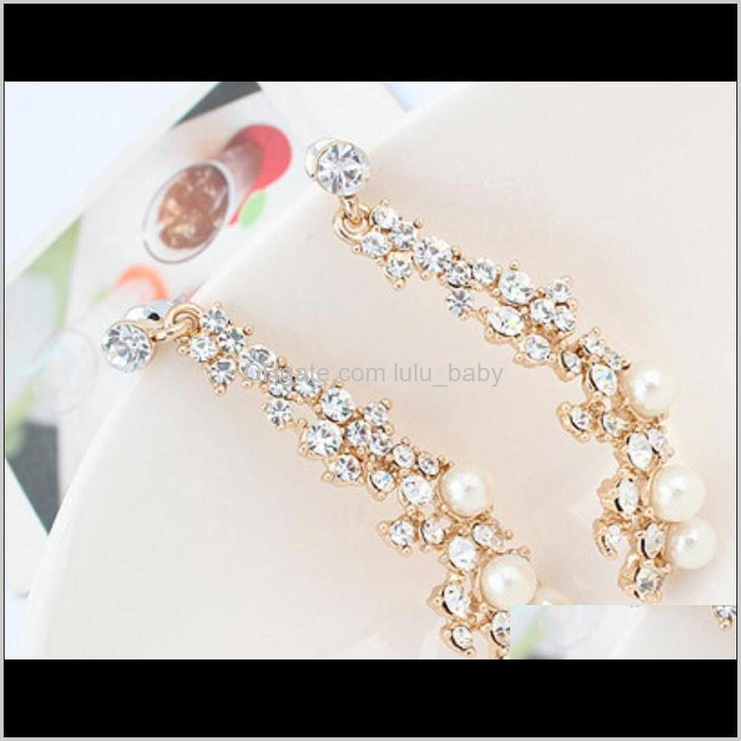 european american boutique ladies pearl earrings women long golden earring 10prs diamond stud ps2883