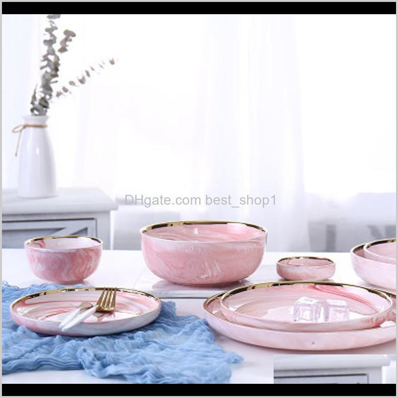 pink marble ceramic dinner dish plate rice salad noodles bowl soup plates porcelain dinnerware sets tableware kitchen cook tool