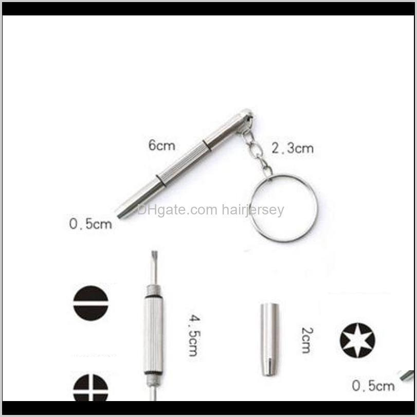 wholesale 3 in 1 aluminum steel eyeglass screwdriver sunglass watch repair kit with keychain portable screwdriver hand tools