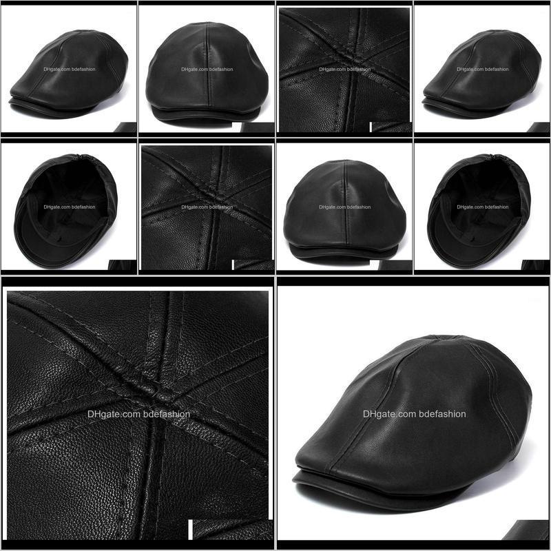 female male beret hat leather cap trucker visor unisex bonnet black1