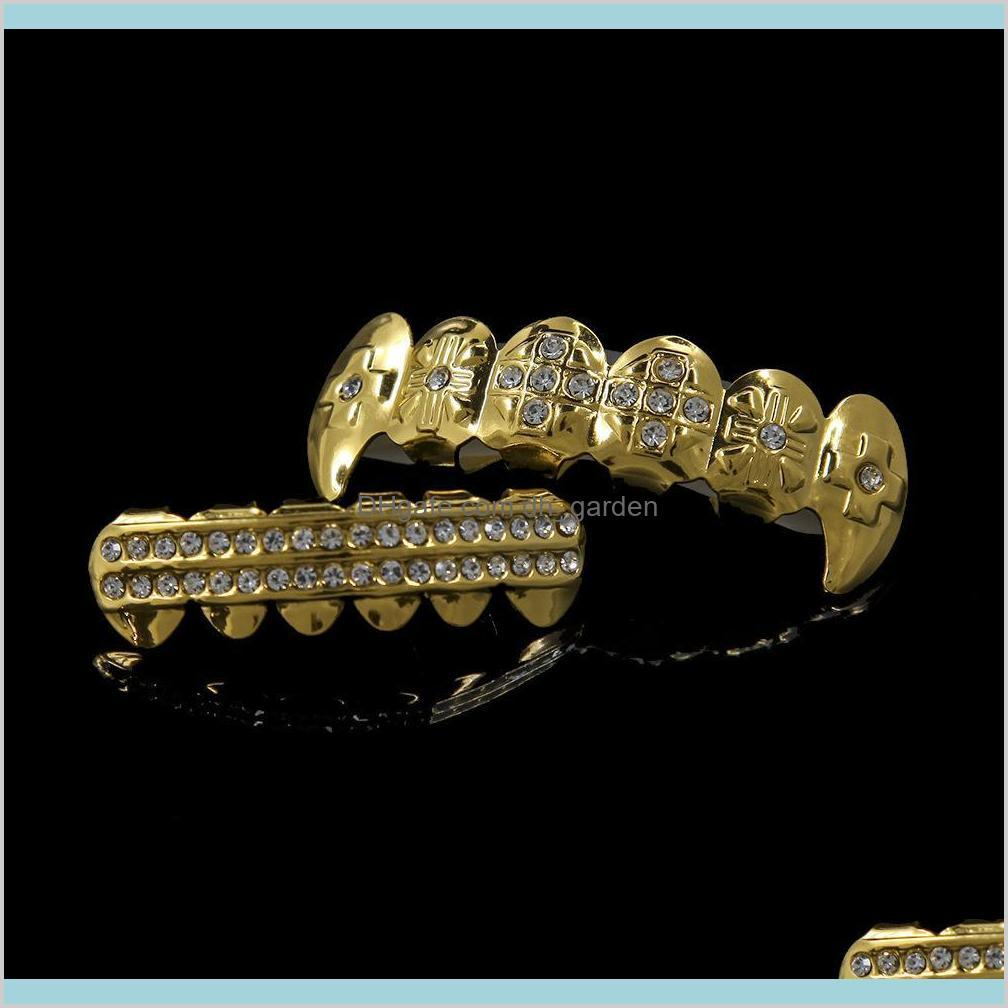 new hip hop teeth grills dental gold silver plated crystal 6 top & bottom faux dental tooth braces grills rapper body jewelry unisex