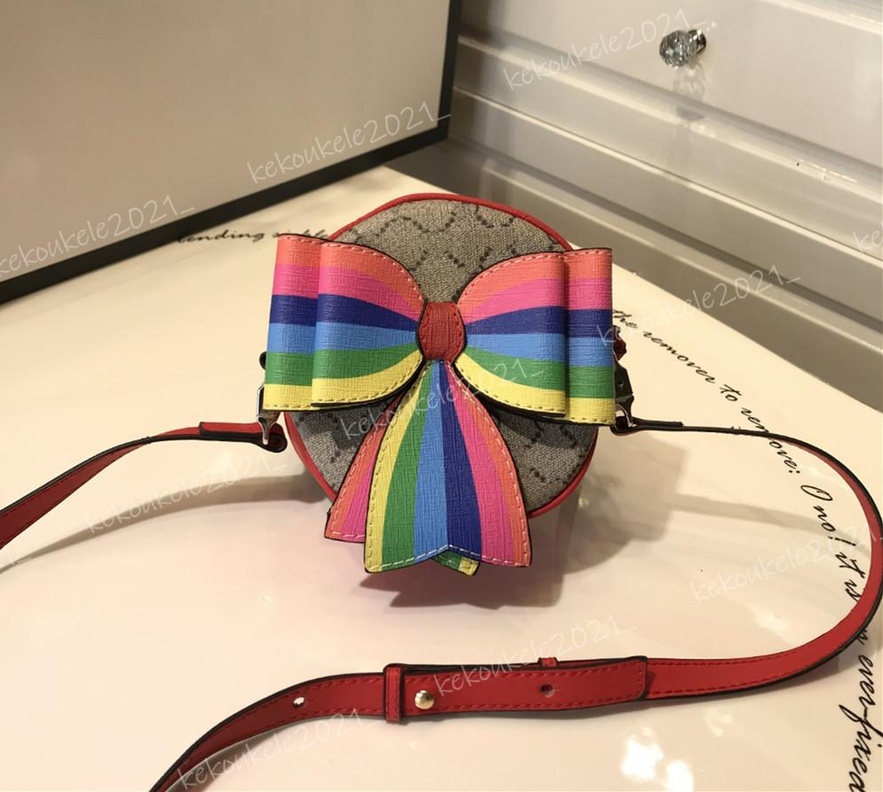 Kids Bags Top Quality Cute Bowknot Purse Handbags Round Wallet Print Leather Mini Crossbody Bag for Girls