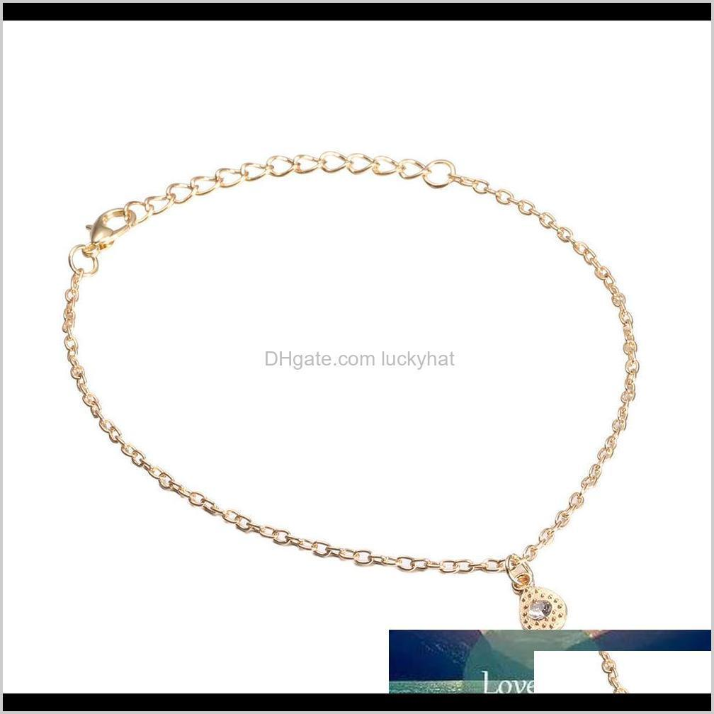 1pcs fashion simple water drop crystal anklets bracelets for women trendy anklet sandle bare foot female beach charm jewelry