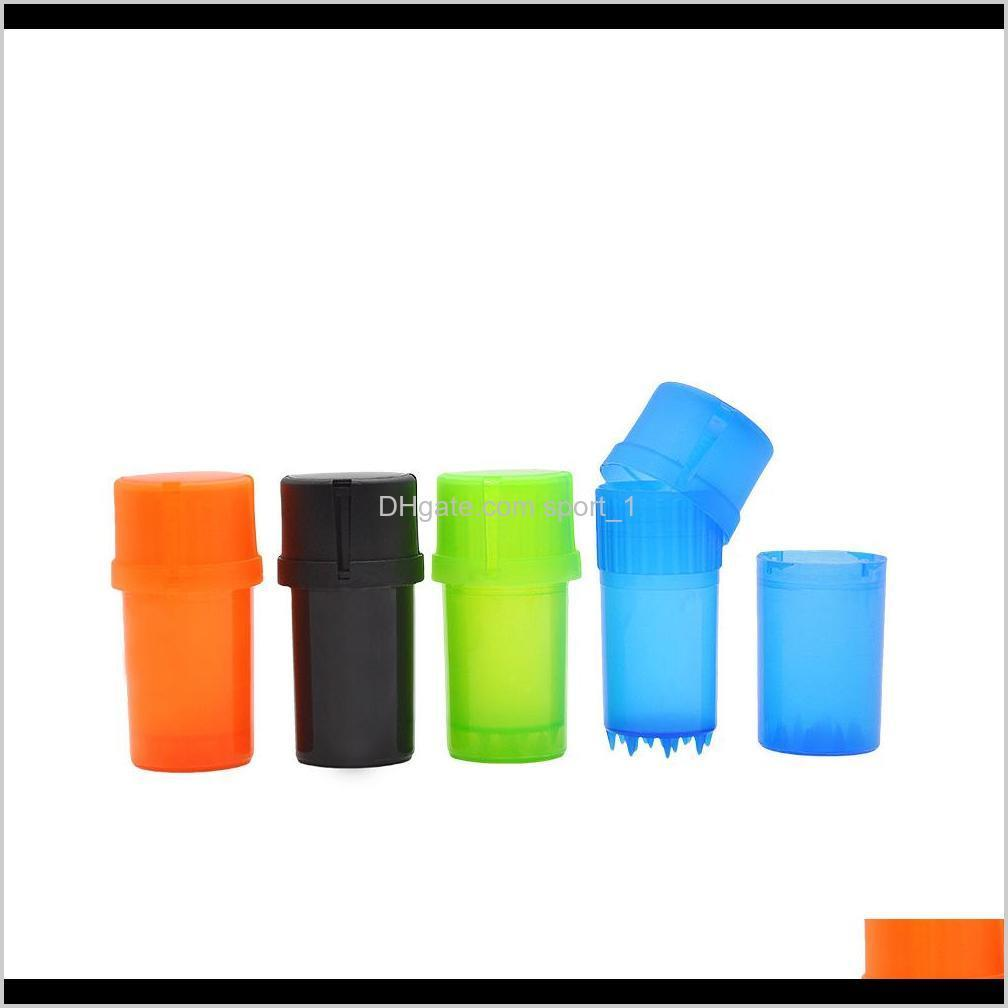 cheap plastic tobacco grinder 3 parts smoking grinder with med container crusher storage box smoking accessories cca11866 300pcs
