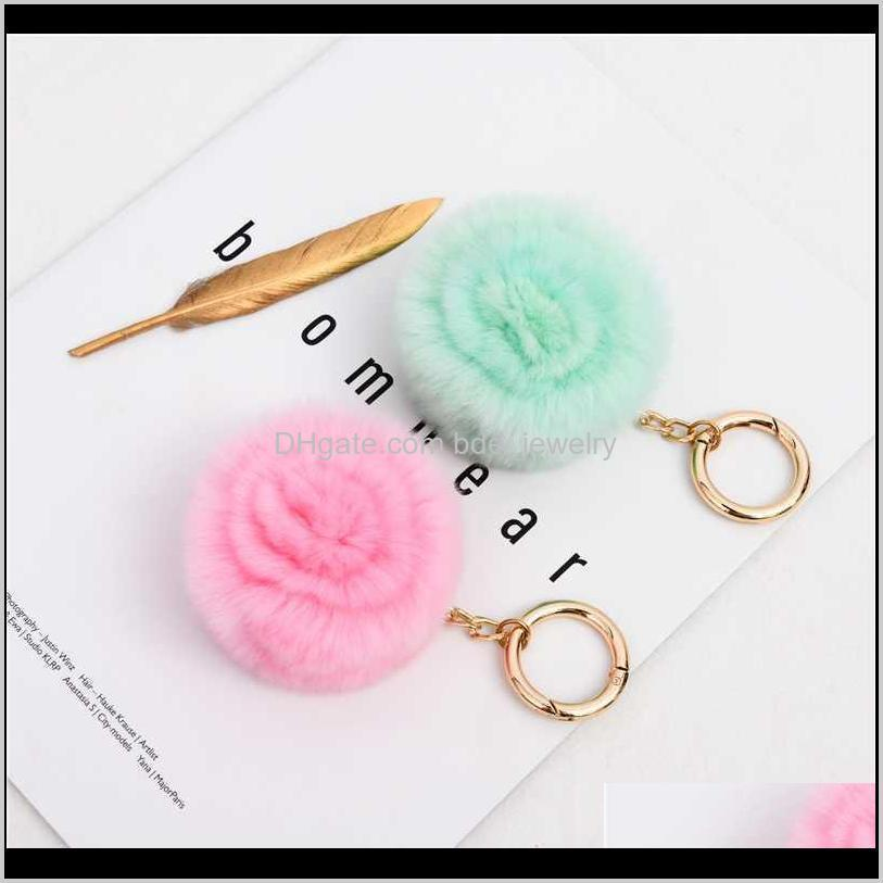 2020 fluffy fur pompom keychain rose flower women bag charm real natural fur balls genuine pom poms key chain