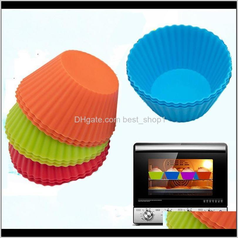 3inch silicone cupcake liners mold muffin cases round shape cup cake mould sgs cake baking pans bakeware pastry tools 8 colors dbc