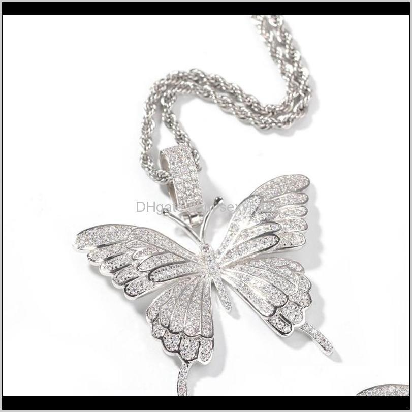 hotest cz zircon micro paved bling women men butterfly pedant necklace hip hop jewerly fashion