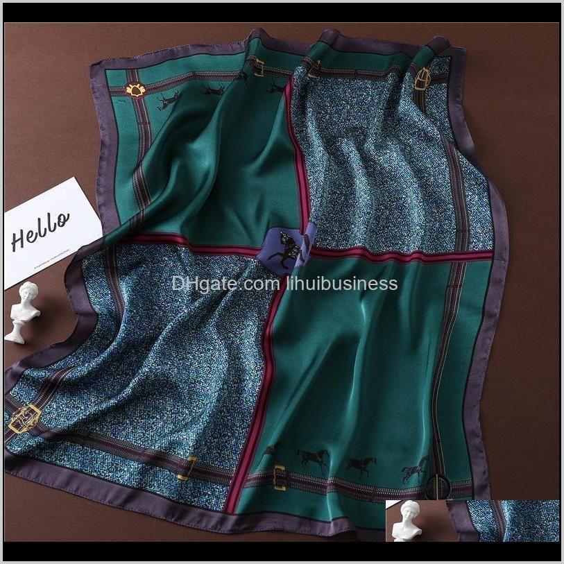 women silk scarf luxury horse print brand square neck scarves lady foulard head band large handkerchief 2021 fashion