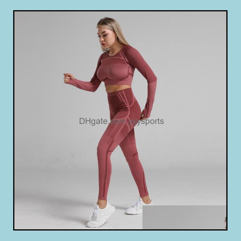 2021hot Body Sculpting Waist Seamless Yoga Set Gym Fitness Leggings Hollow Out Cropped Shirts Sport Suit Women Long Sleeve Tracksuit