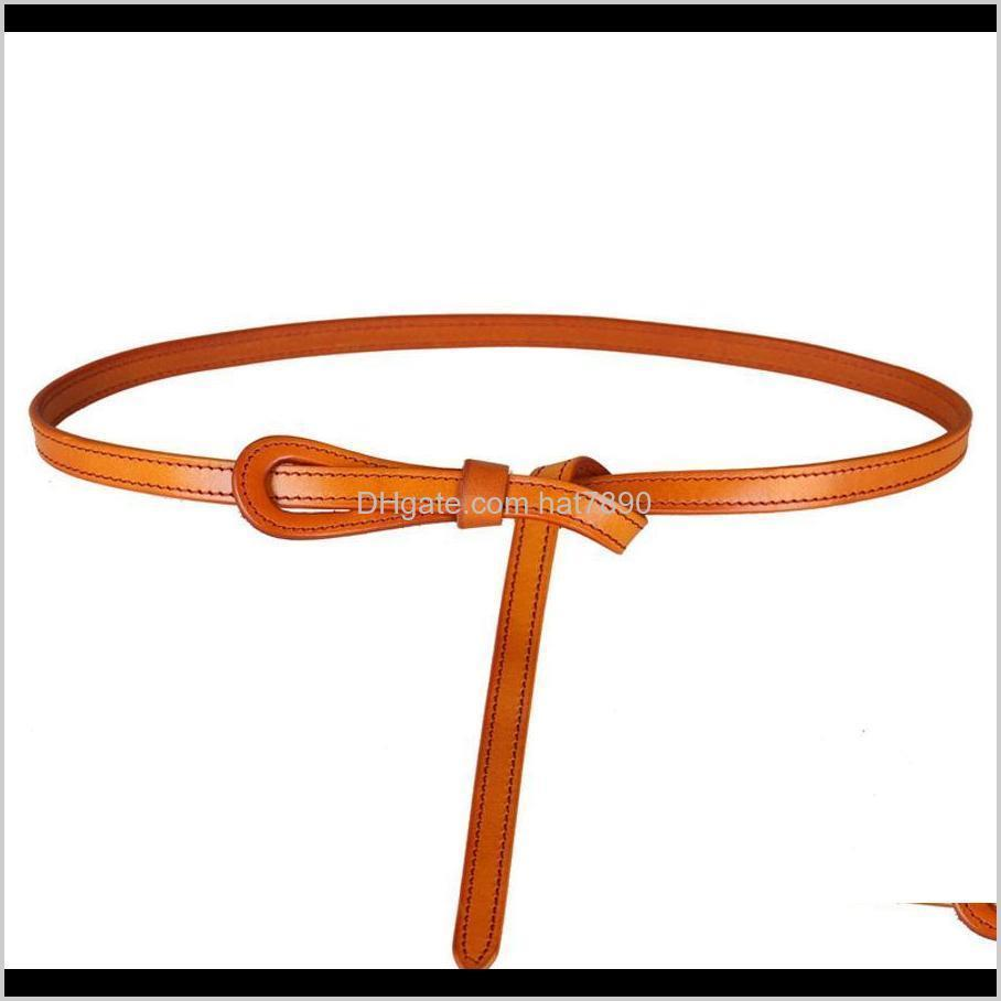 Top Decorative Knotted Straight Layer Cow Belt, Leather Thin Belt Skirt, Simple and Versatile 01g6