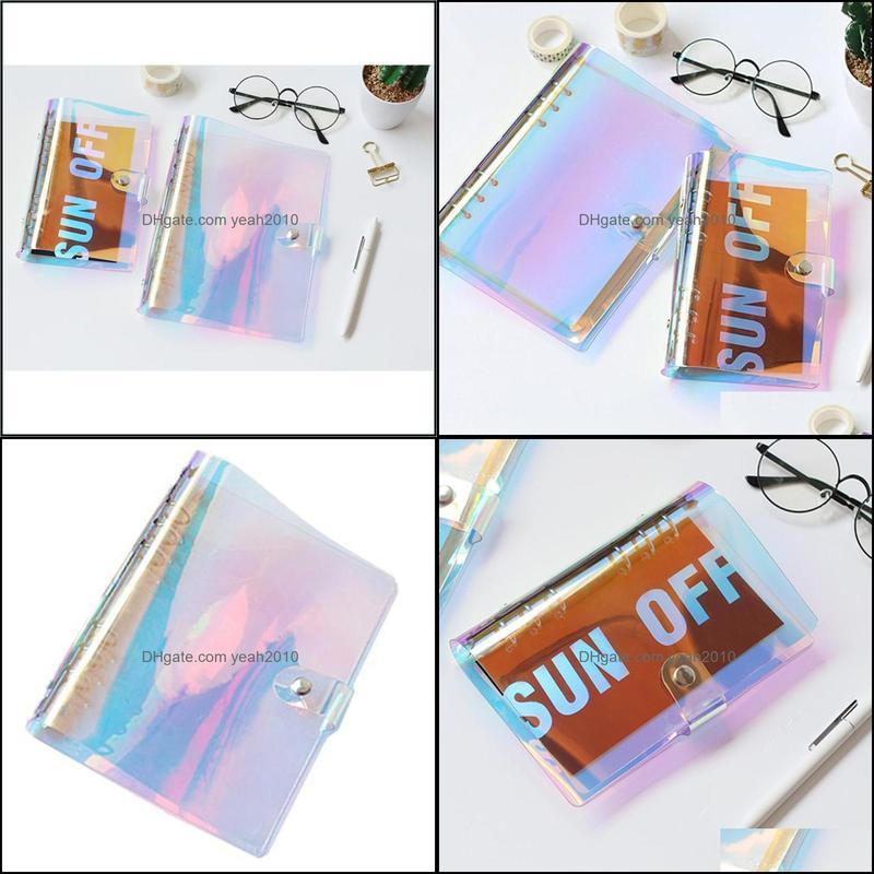 Dazzling PVC Transparent Cover Diary Notebook Journal Writing Sketchbook School Supplies (Colorful A5) Notepads