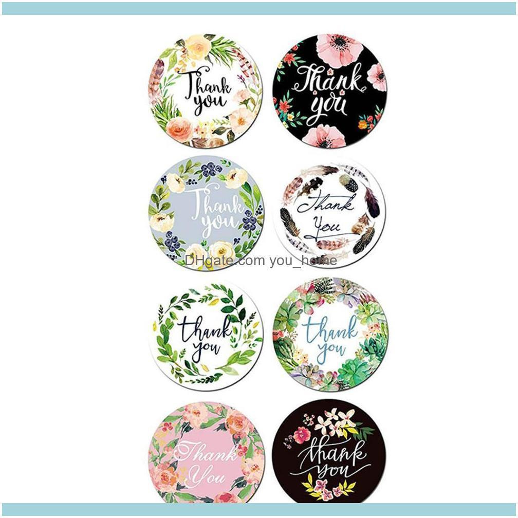 Floral Thank You Stickers Seal Label Sticker Wedding Accessory Tag Glass Bottle Envelope Business Box Gift Invitation Card Decor