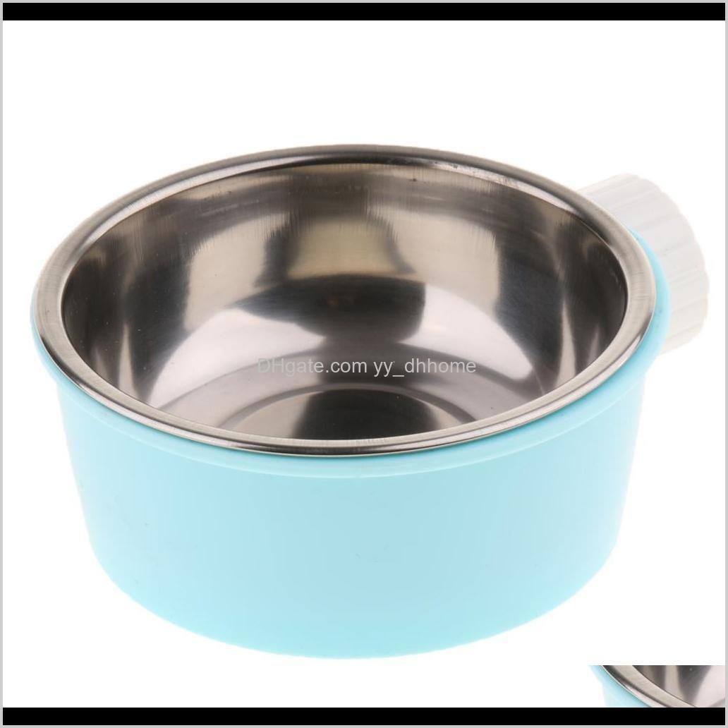 pet cat kitten animal practical steel food dispenser dog puppy feeding bowl