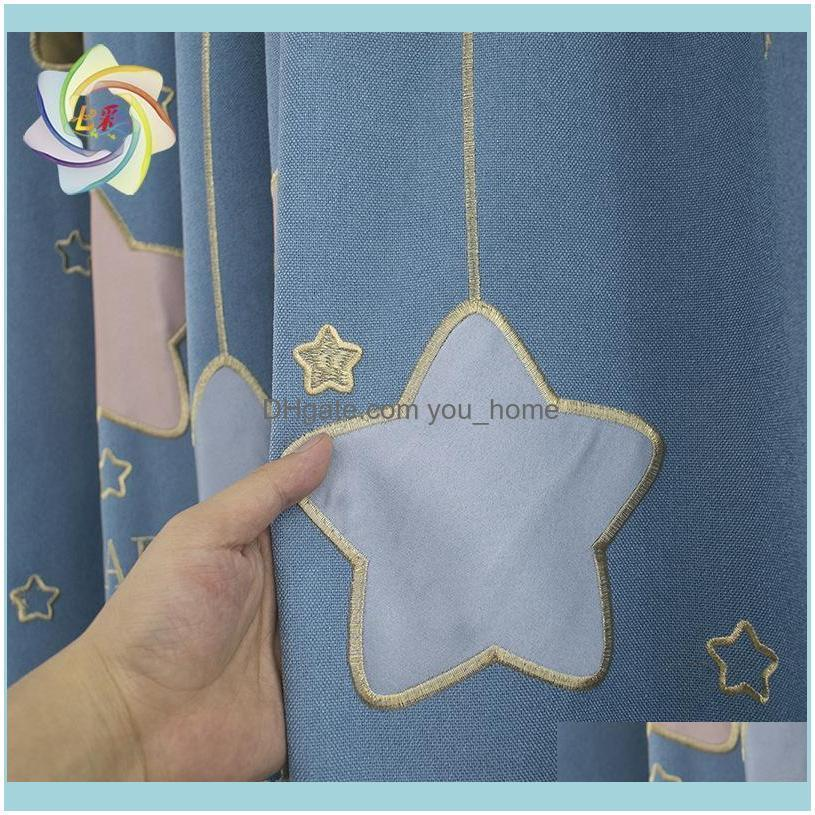 Children`s Room Dream Starry Sky Curtain Embroidered Applique Blackout Curtains For Living Room, Dining And Bedroom & Drapes
