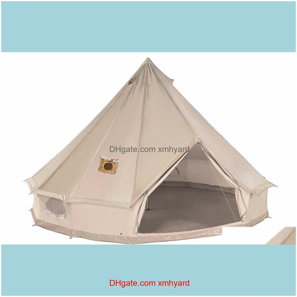 High Quality Waterproof Mildew-proof Canvas Bell Tent with Two Stove Jackets (top and wall) All Season Tents with top chimney