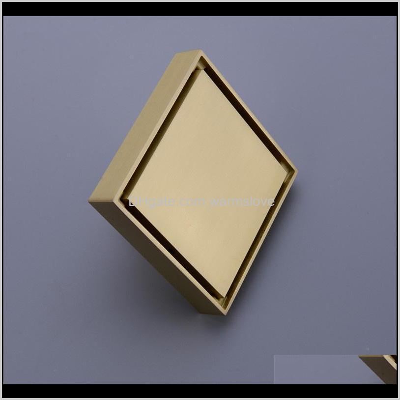 brass tile insert square floor waste grates bathroom shower drain floor drain brushed gold fltro ducha drain hair invisible
