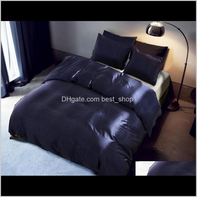 imitation silk bedding set 3 pcs satin duvet cover solid color set simple beautiful bedclothes with pillowcase