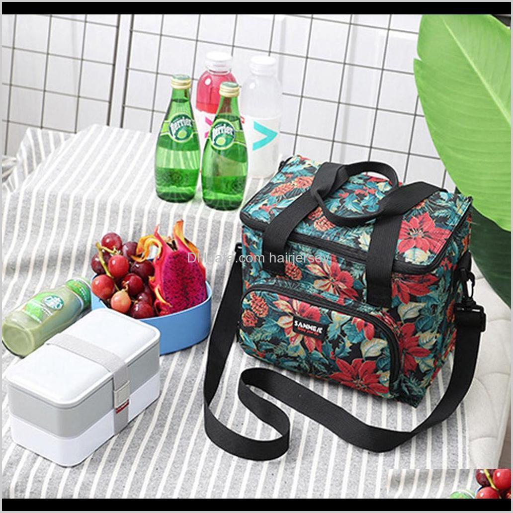 lunch bag polyester portable lunch bag insulated cooler camping picnic box shoulder thermal double layer 10ll w621