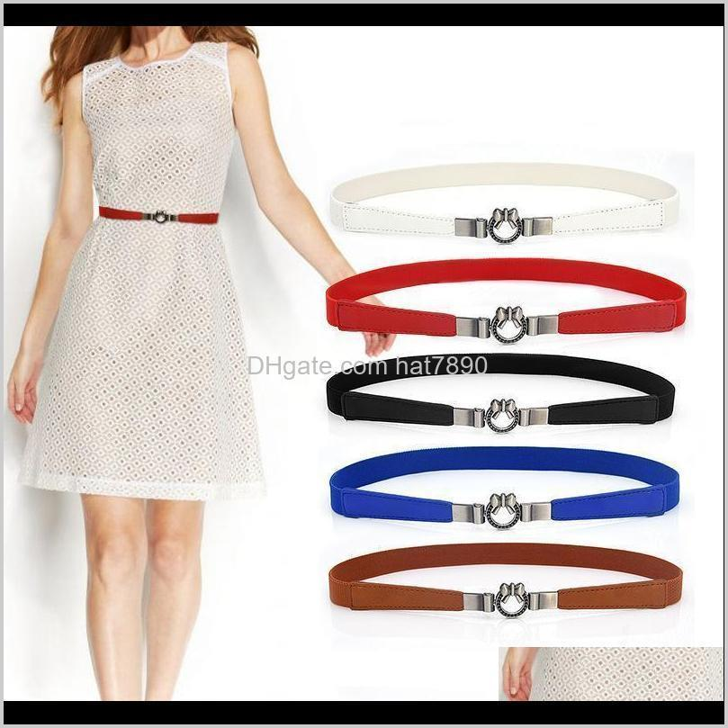 Buckle Bow Fashion Women Belt Waist Belts for Lady Jeans Skinny Thin Faux Leather Straps Dress Accessories
