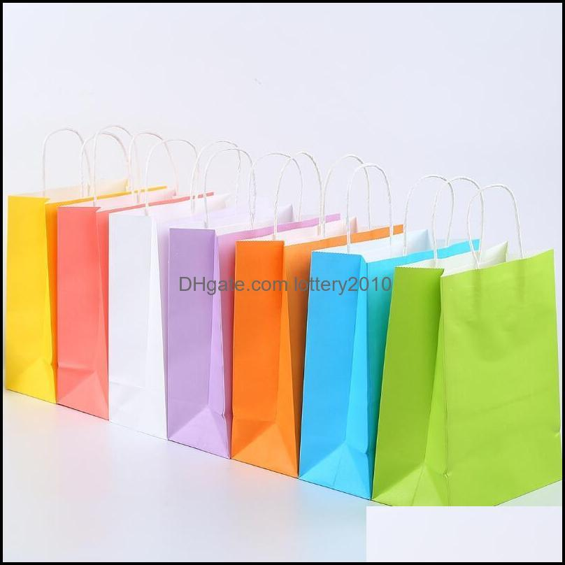 Assorted Small Neon Colored Paper Gift Bags with Handles Kraft Paper Party Bags Birthday Wedding Party Favor Goodie Bag LX2602