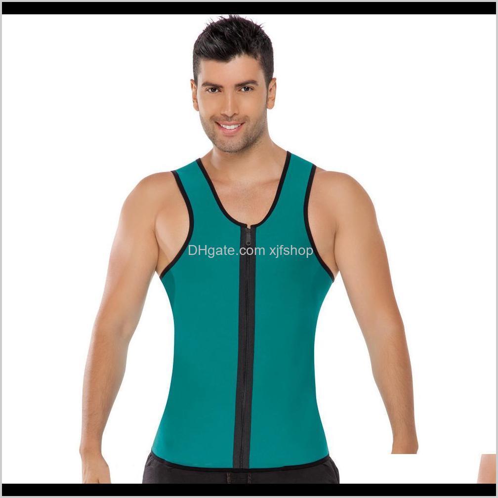 new hot men`s bodyshaper neoprene sweat corset slimming vest body shaper zipper sauna tank tops workout shirt for weight loss