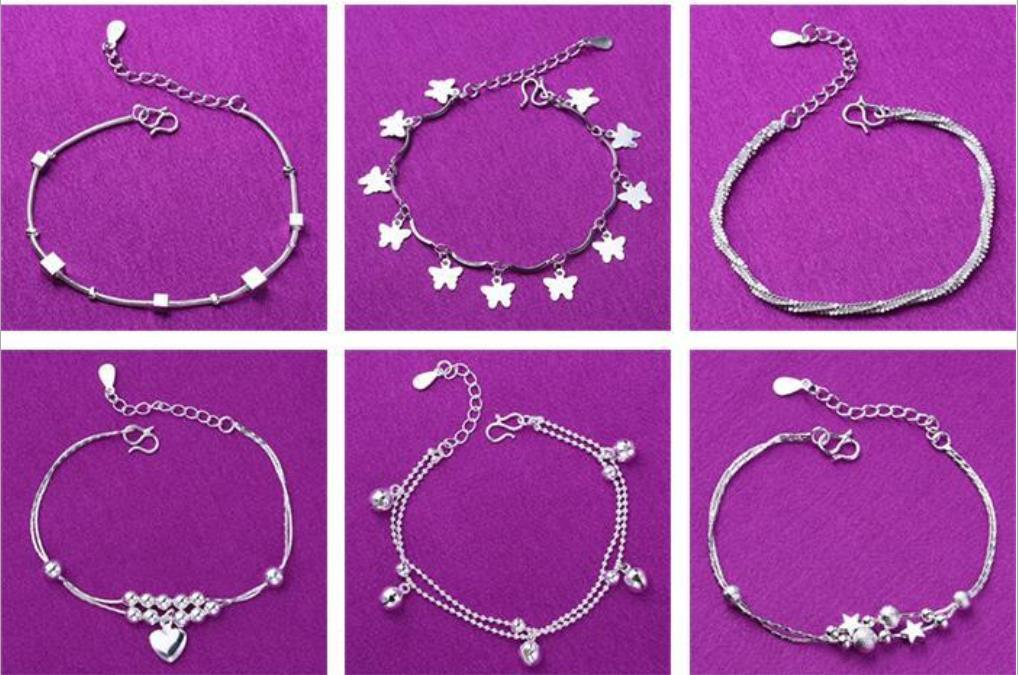 2018 New Foot Jewelry Anklets Hot Sale Silver Anklet Link Chain For Women Girl Foot Bracelets Fashion Jewelry Wholes