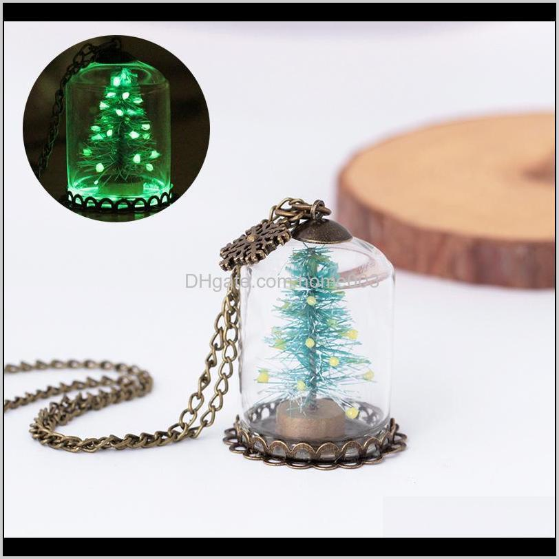 1 pcs chic luminous christmas tree seat glass bottle pendant necklace charm girls glow in the dark jewelry for women gifts