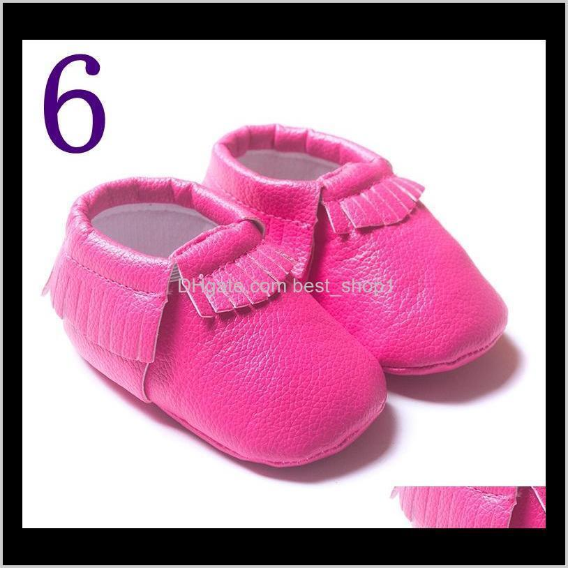 wholesale hot shipping tassels 19-color pu leather baby shoes moccasin newborn shoes soft infants crib shoes sneakers first