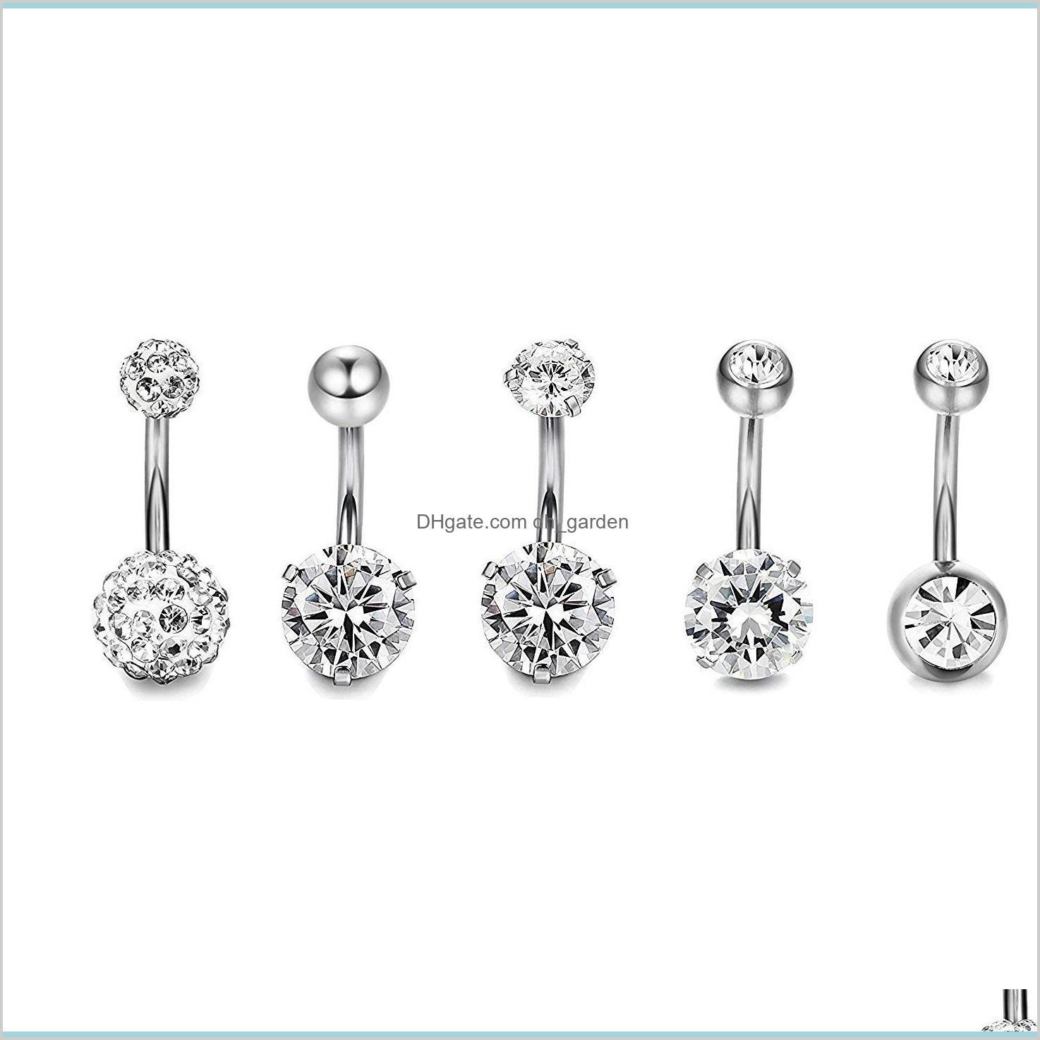 5pcs/set round love heart cute crystal body jewelry piercings stainless steel rhinestone navel & bell button piercing rings for women