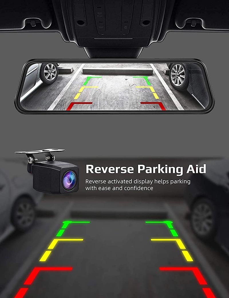 DVR de 10 pouces 2.5K DVR Reverse Vue arrière Mirror Enregistreur vidéo, double lentille avec sauvegarde de la nuit Sauvegarde des caméscopes 32 Go Micro SD Card