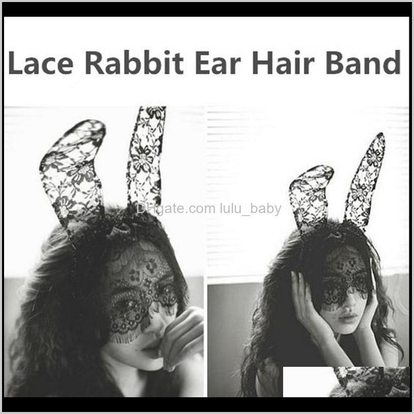 1pc new women lace ears veil hair bands girls sexy black mask hair accessories hollywood party costumes band