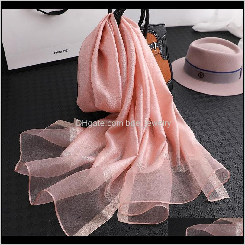 brand 2020 solid silk scarf women scarves shawls and wraps muslim chiffon hijab foulard femme beach stoles bandana