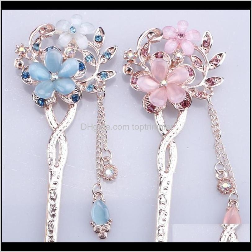 fashion women designer party hairpin alloy crystal jewelry style vintage handmade flower wedding hair accessories bun stick hair pins