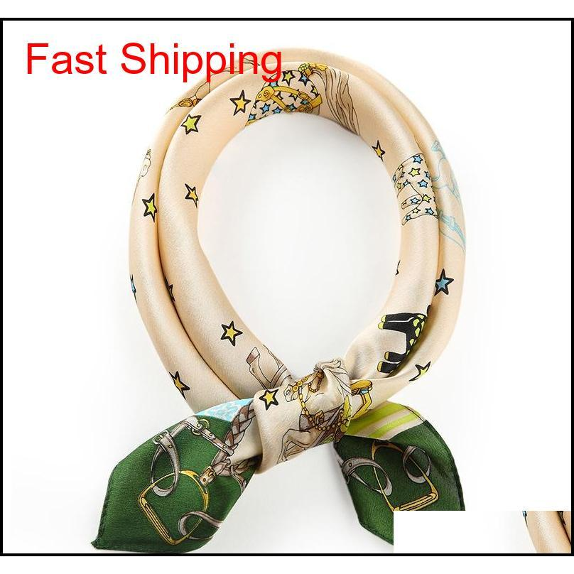 spring and autumn designer womens scarf with printed luxury scarf with square pattern casual fashion brand cravat for women size 52*52