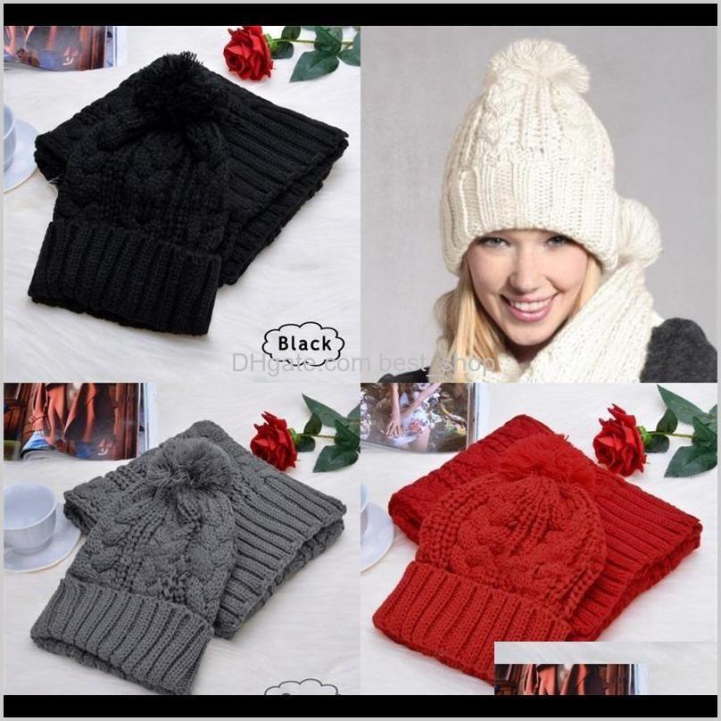 hairy ball hat versatile knitting winter womans sets twist pattern soft neckerchief keep warm windbreak scarfs shipping 20dr f2