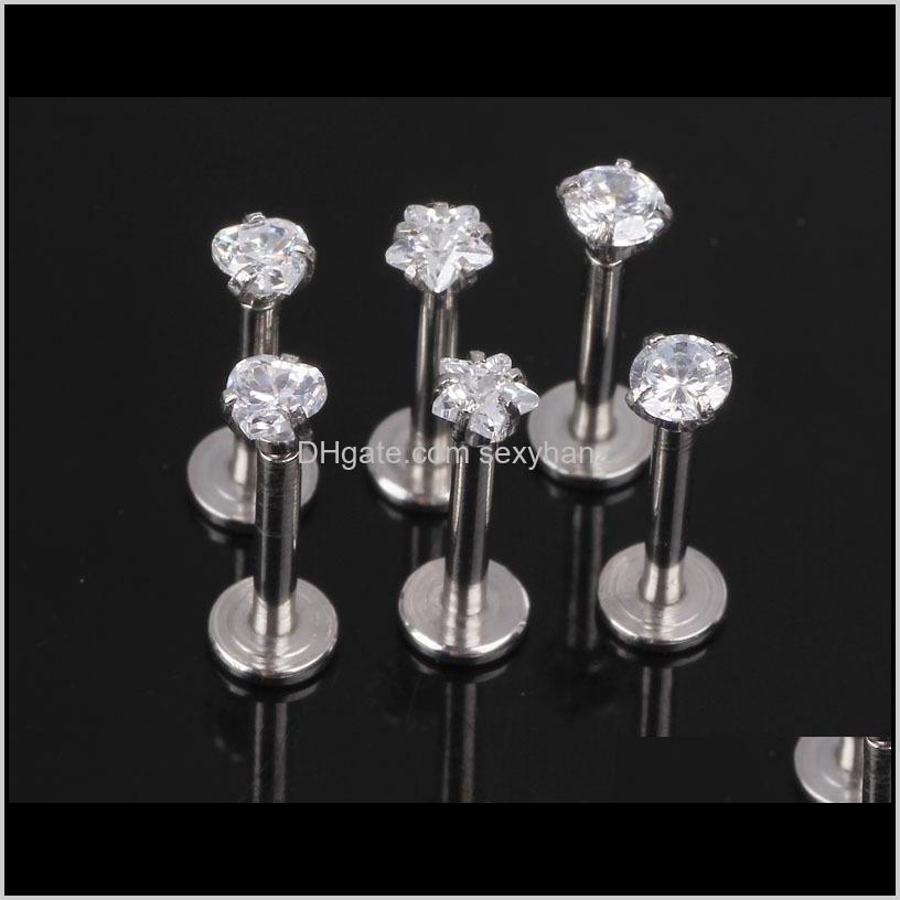 1.2x8x3mm 16g silver internally threaded prong gem labret lip piercing zircon labret ring tragus earring