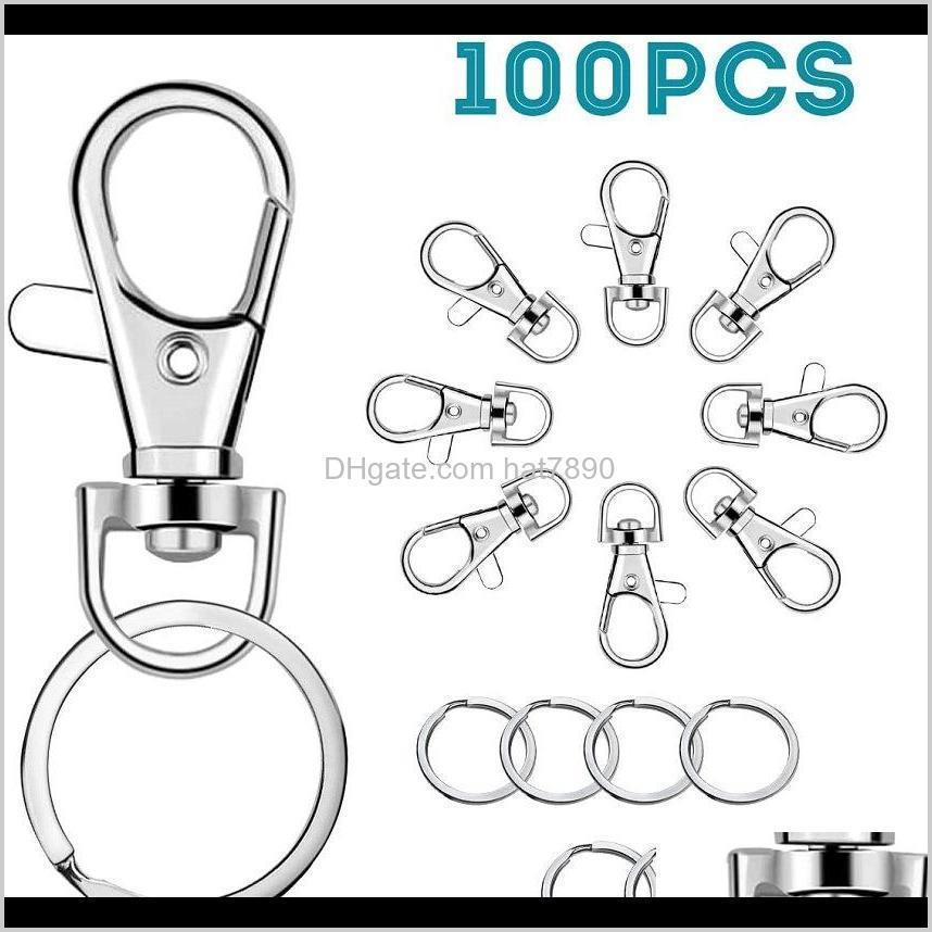 Kimter Swivel Clasps Lanyard Snap Hook with Key Rings Clip Hooks Lobster Claw Clasp for Keychains Jewelry DIY Crafts Free DHL Q389FZ