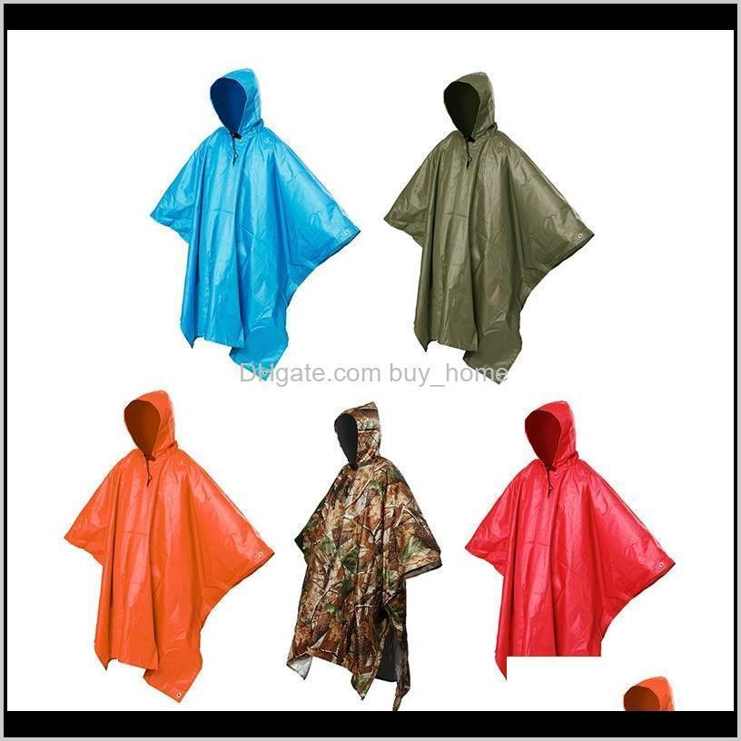 3 in 1 multifunctional raincoat outdoor travel rain poncho backpack quality hiking rain cover awning camping waterproof tent