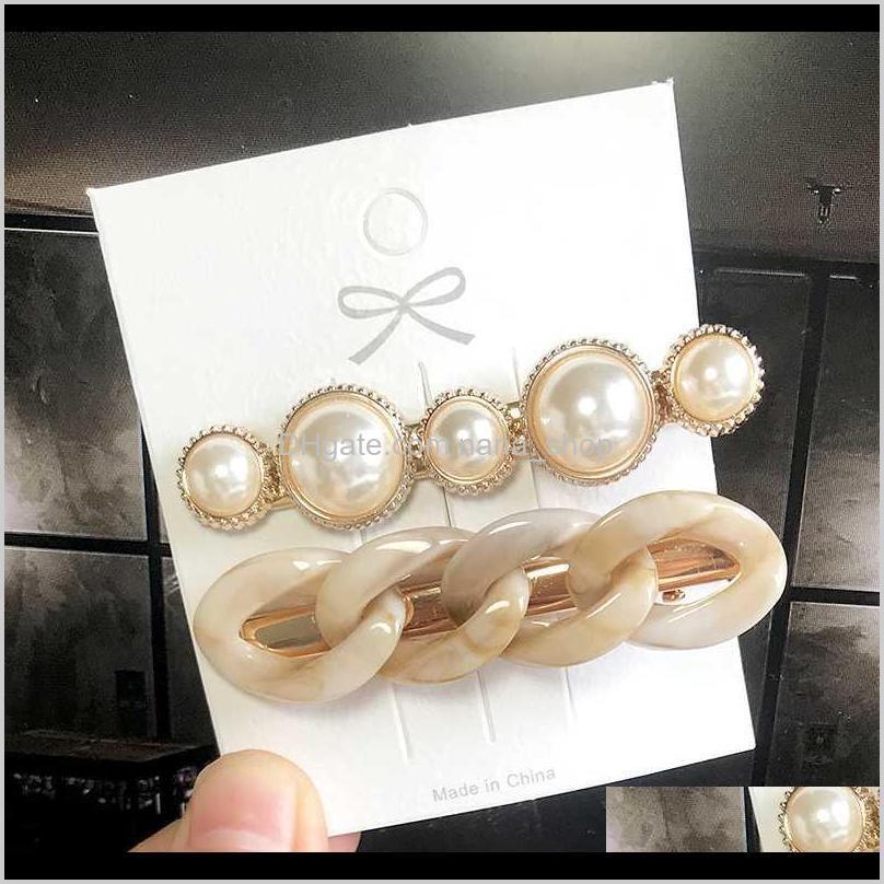 2020 korea ins pearl barrettes hairpin woman girl headwear trendy hairgrip hair ornament side clip fashion hair accessories gift