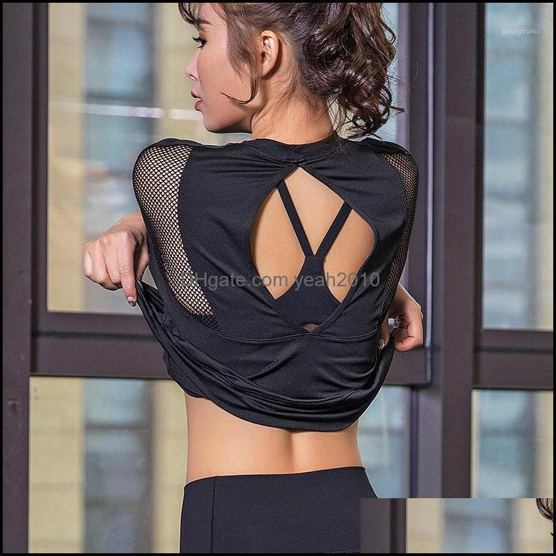 Yoga Outfits Women`s Black Sports Wear For Women Gym Open Back Sport Top Jersey Woman Workout Tops Fitness T Shirt Female Tank