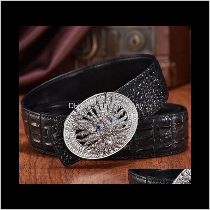 men designer crocodile leather belt fashion luxury glittering diamonds 3d dragon smooth buckle 125cm 12 models