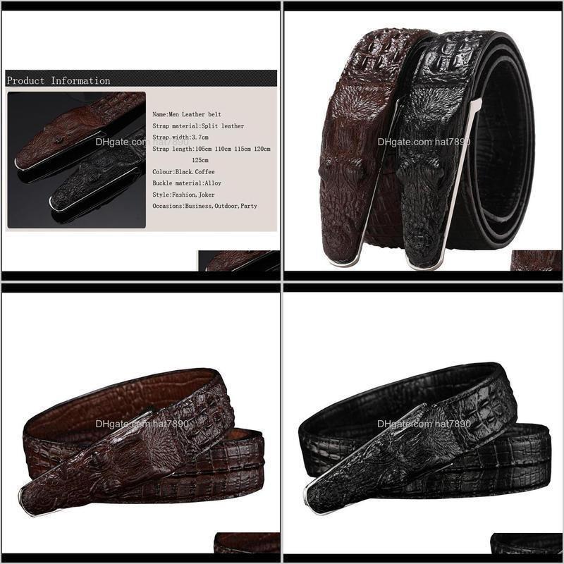 Crocodile Western Crocodile Buckle Leather Men Belt Fashion Jeans Causal Pants Business Men Belt