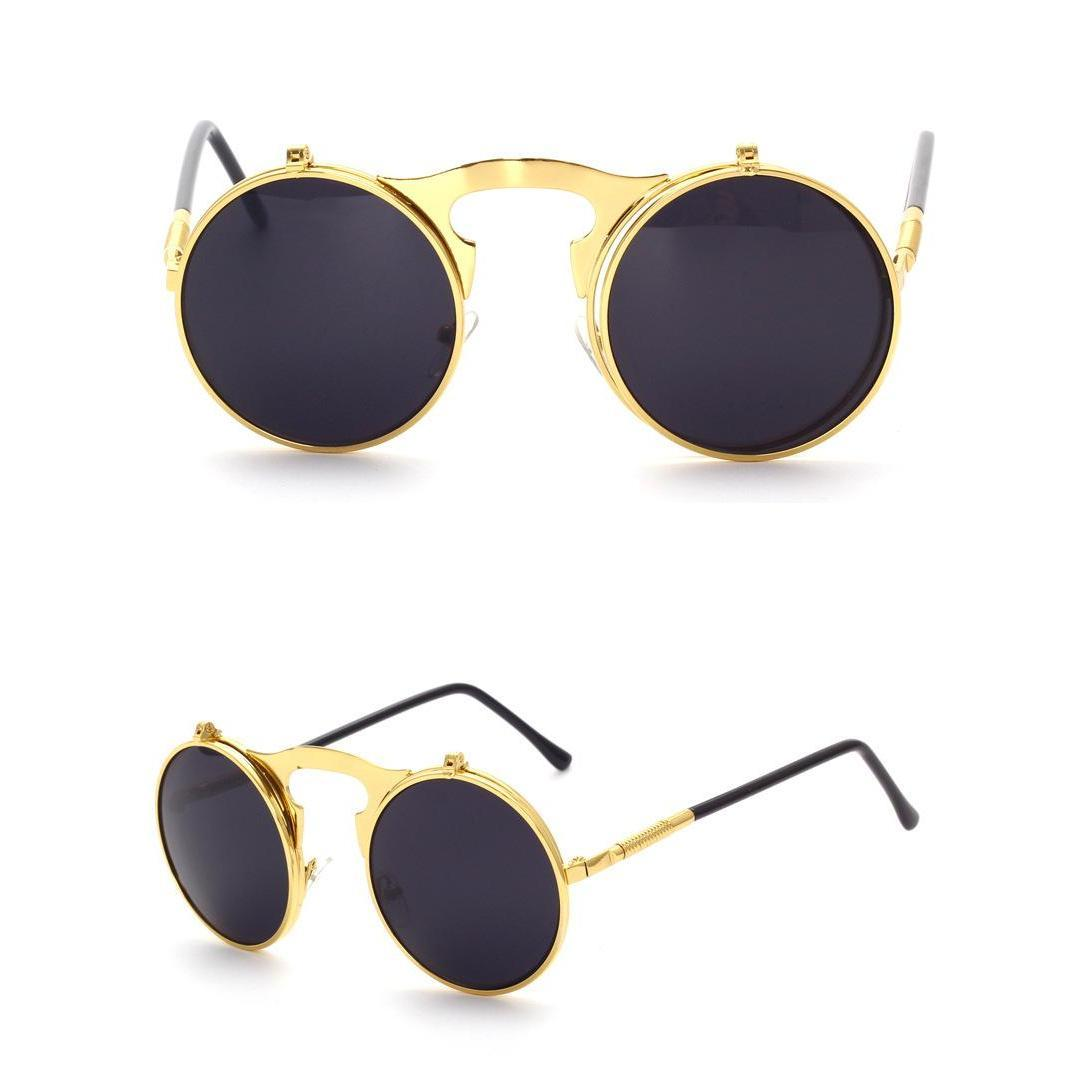 luxury glasses vintage sunglasses round flip designer steam punk metal women coating sunglasses retro circle sun glasses