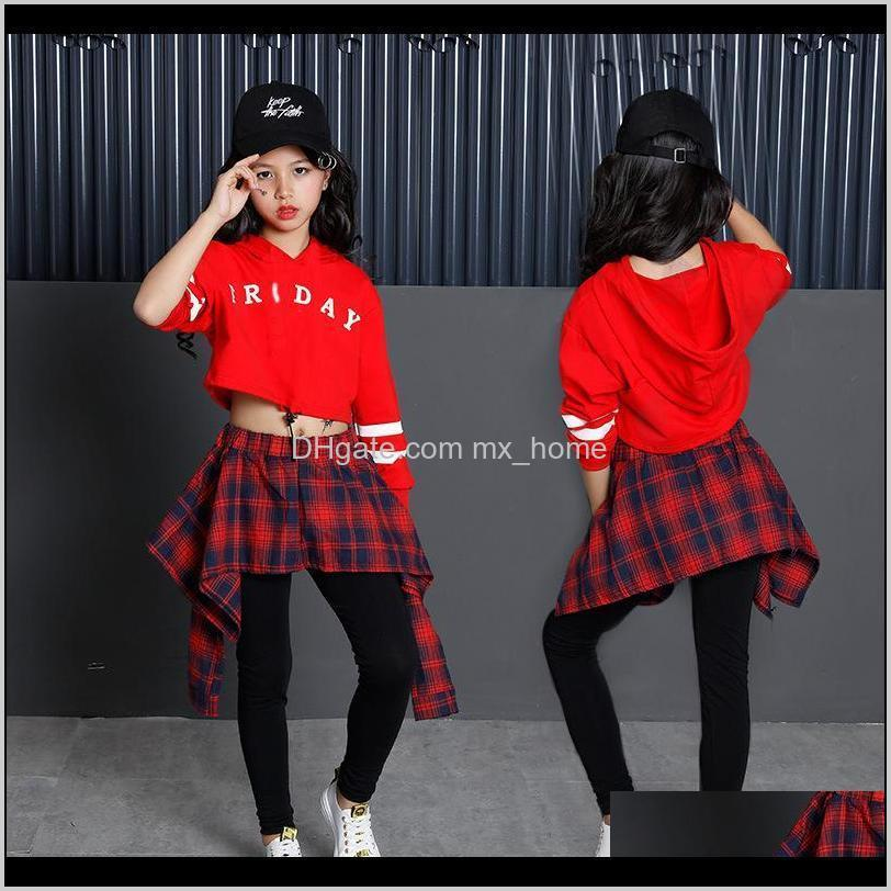 children`s sports suits cotton clothing korean fashion hip hop streetwear teenage girls hoodies sweatshirt + plaid skirt-pants 201023